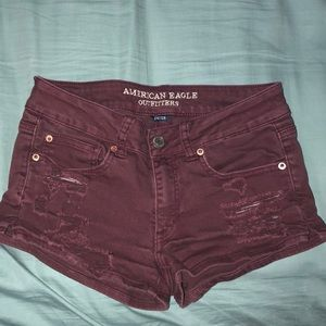 Burgundy Denim Ripped Cheeky Shorts